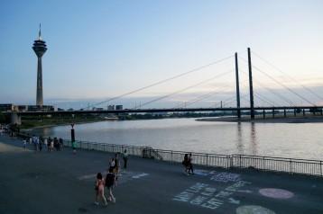 Two different views of the Rheine River from Reihnuferpromenade