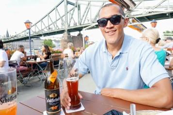 Dan relaxing at the river beer garden