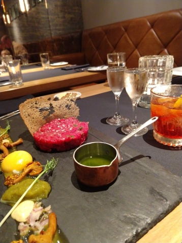 Dan's steak tartare and the fantastic duck entre with, you guessed it, another vodka pairing