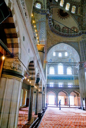 Beautiful architecture and tiling on the inside of the Blue Mosque