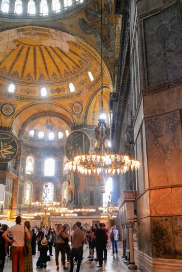 A couple views of the interior of the Hagia Sophia from the ground floor