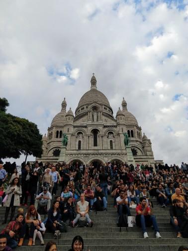 Always a crowd gathered on the steps of the Sacré-Cœur