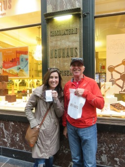 Our first chocolate stop- Neuhaus, where I was rewarded with my own bag of goodies for bringing guests