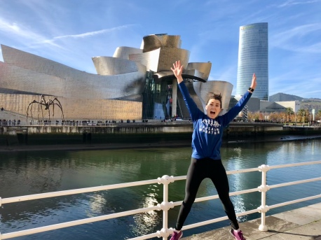 Another classic jumping picture from our run by the Guggenheim
