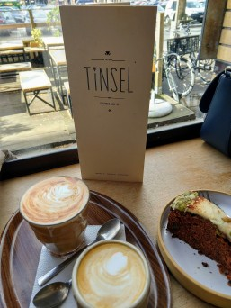 Tea, coffee, and carrot cake at Tinsel Cafe in Antwerp