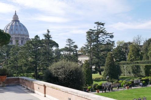 View of St. Peter's Basilica and the Vatican gardens from the balcony of the Vatican Museum