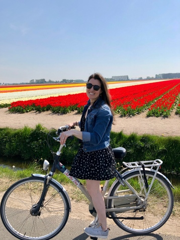 Biking to see the tulip fields in Lisse, Holland