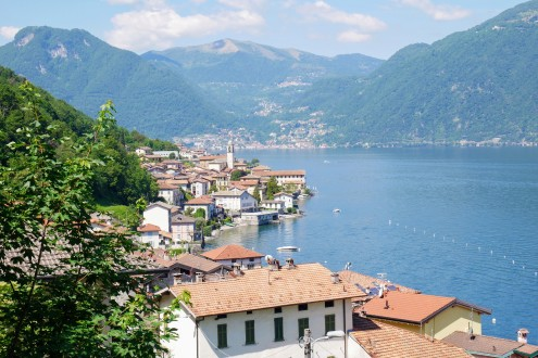 Views of Lake Como flanked by the foothills of the Alps