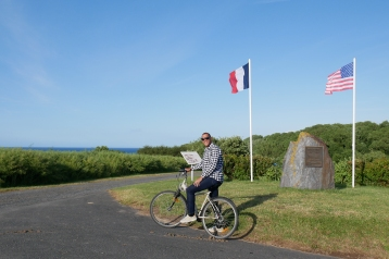 Dan biking down to Omaha Beach