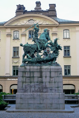 The statue of St. George in Gamla Stan