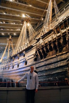 The resurrected Vasa ship stands tall inside the museum
