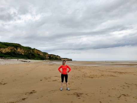 Running along Omaha Beach