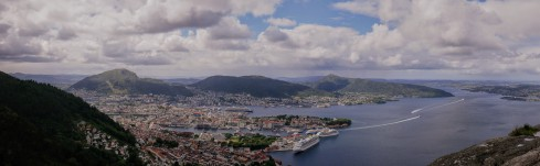 A panorama of Bergen from the top