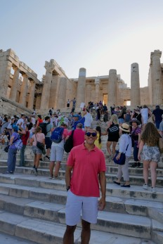 First slippery steps on the marble of the ancient Acropolis