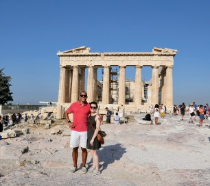 Strategic view of the Parthenon to avoid the unsightly scaffolding