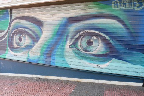 Graffiti covering the buildings of Athens