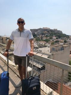 Dan's big breath on the balcony