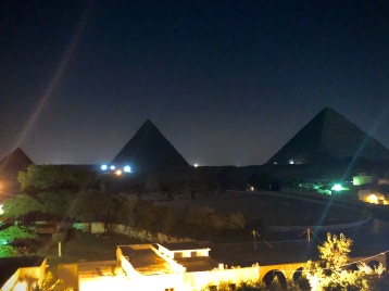 Our view of the pyramids by night