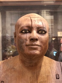 The wooden statue of the scribe and priest Kaaper whose eyes are alarmingly realistic