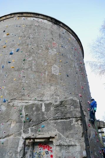 Bomb shelter repurposed as a climbing wall