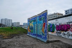 Portion of the East Side Gallery where you can see the interior and exterior walls