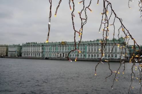 The view of the Winter Palace from the Palace Bridge
