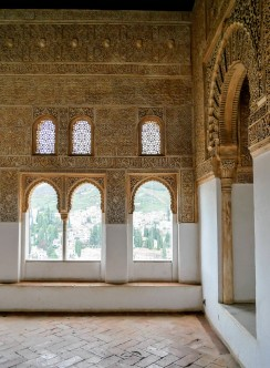 Intricate detailing on the walls inside the Nasrid Palace