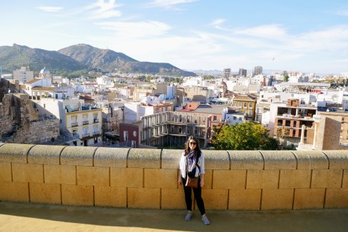 The view from the top of the amphitheater with Cartagena sprawling to the hillsides behind