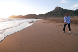 Dan doing what he does best - skipping rocks on Playa Larga