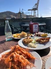 Our seafood spread at Club Nautico Santa Lucia in Cartagena