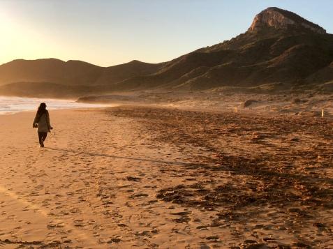 Enjoying the sunset on Playa Larga in Calblanque, Monte de las Cenizas y Peña del Águila Regional Park