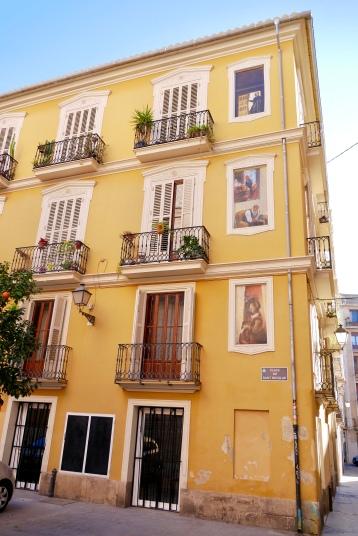 Bright colors of the Old City district of Ciutat Vella in Valencia