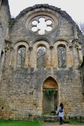 "The abbey ruins with a rose window above bay windows and a ""door of the dead"" leading to the church graveyard"