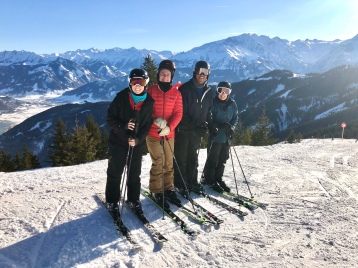 The crew on Schmittenhöhe with Lake Zell below