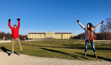 Schönbrunn Palace jumps in the garden
