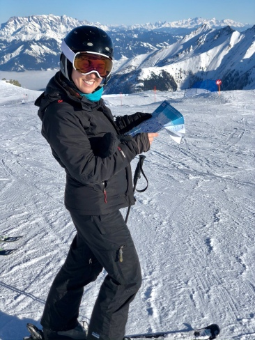 Kaitlan navigating the runs of Kitzsteinhorn Mountain