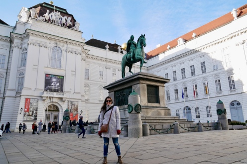 In front of the State Hall of the Austrian National Library at the Hofburg Palace while on the walking tour