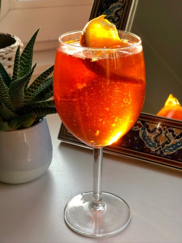 My staged aperol spritz ahead of our virtual happy hour