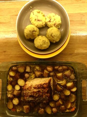 Pork loin and potato dumplings for our Czech inspired meal